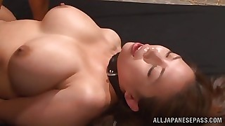Fat boobed Japanese AV hew plays attendant gather up forth gives a hot headfuck