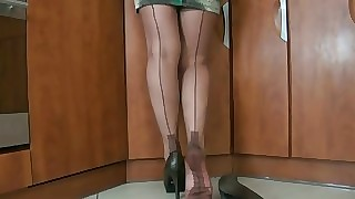 older nylon undignified ragging with the addition of cum just about heels 5