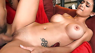 Large wide chum around with annoy shine titty Latina wench gets fucked